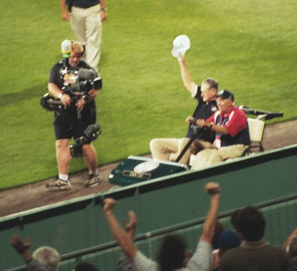 Ted Williams in cart prior to all star game